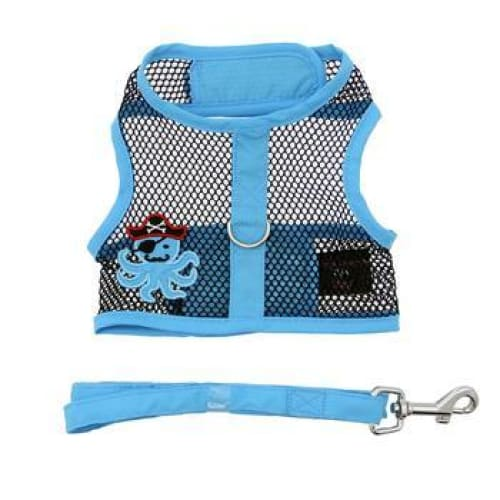 Cool Mesh Dog Harness Pirate Octopus Blue and Black with Matching Leash - Soft Dog Harnesses - 2