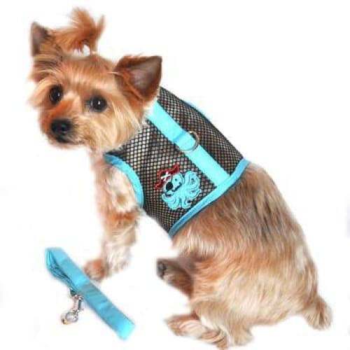 Cool Mesh Dog Harness Pirate Octopus Blue and Black with Matching Leash - Soft Dog Harnesses - 1