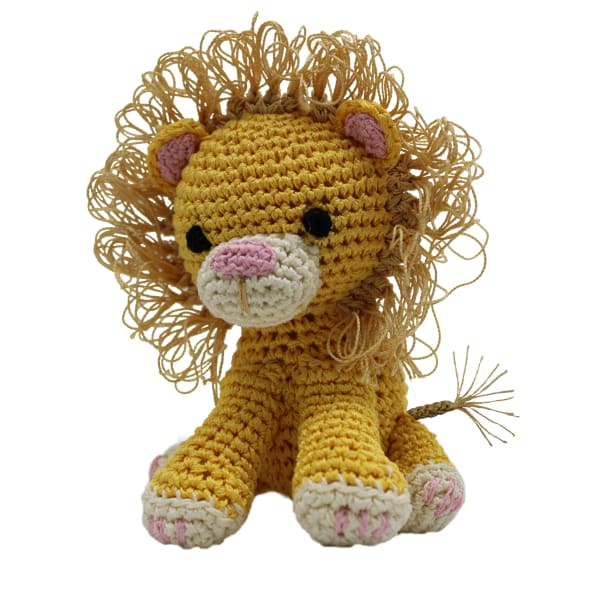 Crocheted King Cuddles the Lion Organic Cotton Dog Toy - Organic & Eco Friendly Dog Toys - 1