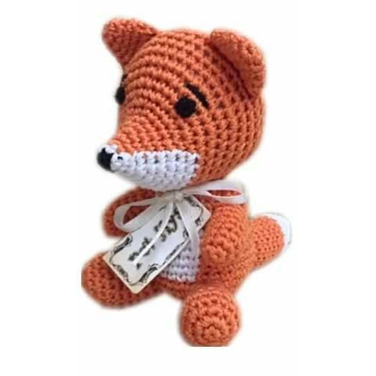 Crocheted Kit the Fox Organic Cotton Small Dog Toy - Organic & Eco Friendly Dog Toys - 1