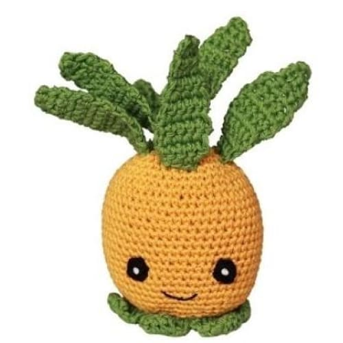 Crocheted Paulie the Pineapple Organic Cotton Dog Toy - 1