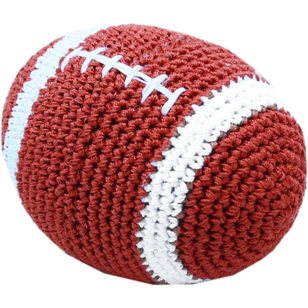 Crocheted Snap the Football Organic Cotton Dog Toy - Organic & Eco Friendly Dog Toys - 1