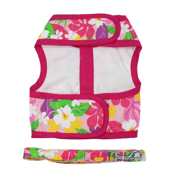 Dog Harness with Leash Pink Hawaiian Floral - Soft Dog Harnesses - 4
