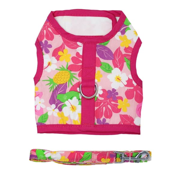 Dog Harness with Leash Pink Hawaiian Floral - Soft Dog Harnesses - 3