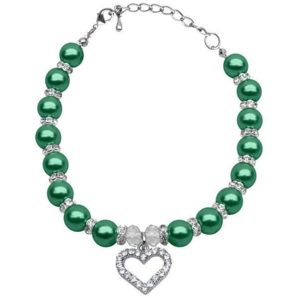 Emerald Green Pearl Dog Necklace - 1