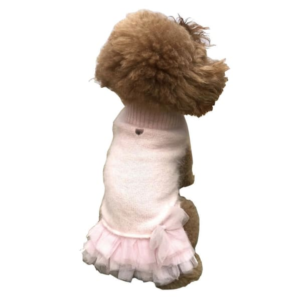 Frilly Tutu Sweater Dress for Dogs Blush - Dog Dresses - 1