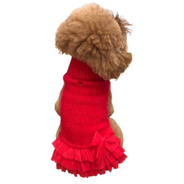 Frilly Tutu Sweater Dress for Dogs Red - Dog Dresses - 1