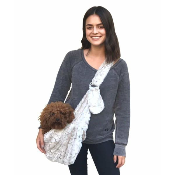 Frosted Snow Leopard Adjustable Sling Dog Carrier - Dog Purse Carriers - 2