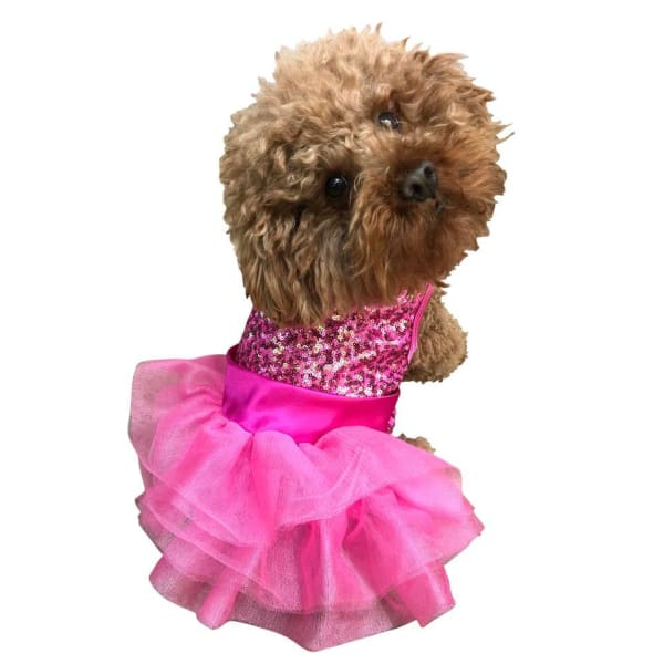 Fufu Tutu For Dogs Over the Top Tricolor Sequins Hot Pink - Dog Dresses - 1