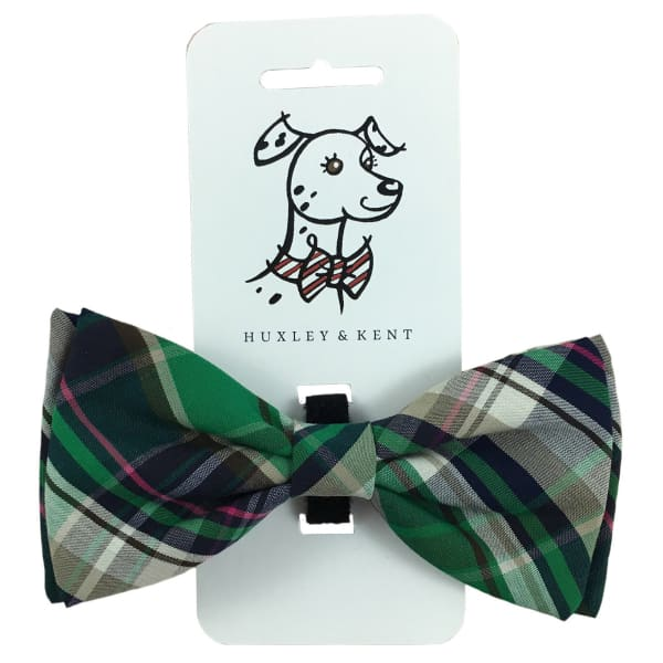 Green Madras Bow Tie for Dogs - Dog Bow Ties - 1
