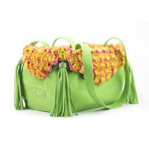 Green Tinkie's Garden Luxury Dog Carrier by Susan Lanci - Dog Purse Carriers - 1