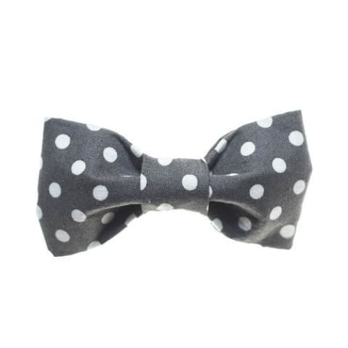 Grey/White Dots Dog Bow Tie - 1