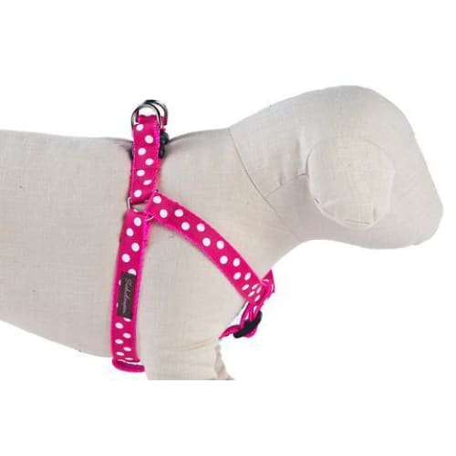 Hot Pink/White Candied Dots Ribbon Dog Harness - 1