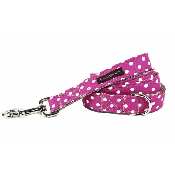 Hot Pink/White Candied Dots Dog Collar - Ribbon Dog Collars - 2