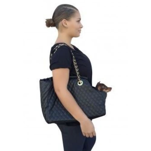 Kate Black Quilted Dog Carrier - 2