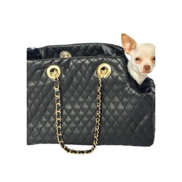 Kate Black Quilted Dog Carrier - 1