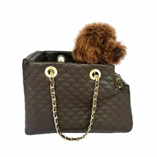 Kate Quilted Dog Carrier in Chocolate Brown - 1
