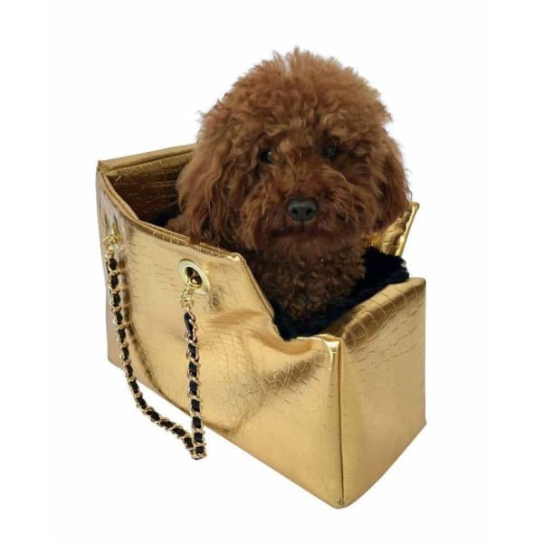 Kate Quilted Dog Carrier in Gold Croc - Dog Purse Carriers - 1
