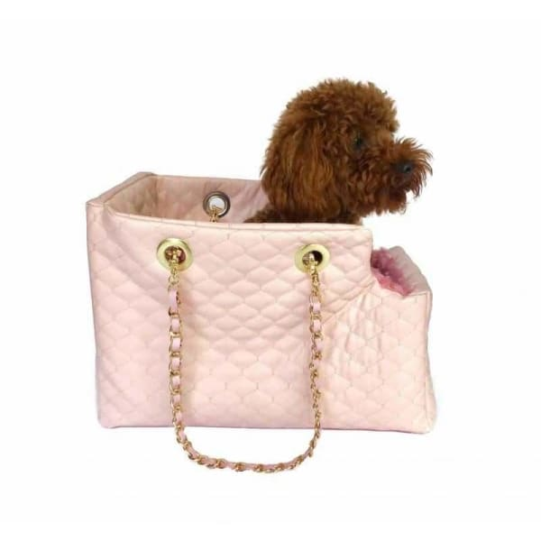 Kate Quilted Dog Carrier in Light Pink - 2