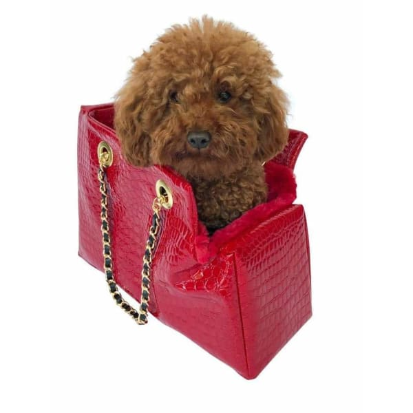 Kate Quilted Dog Carrier in Red Croc - Dog Purse Carriers - 1
