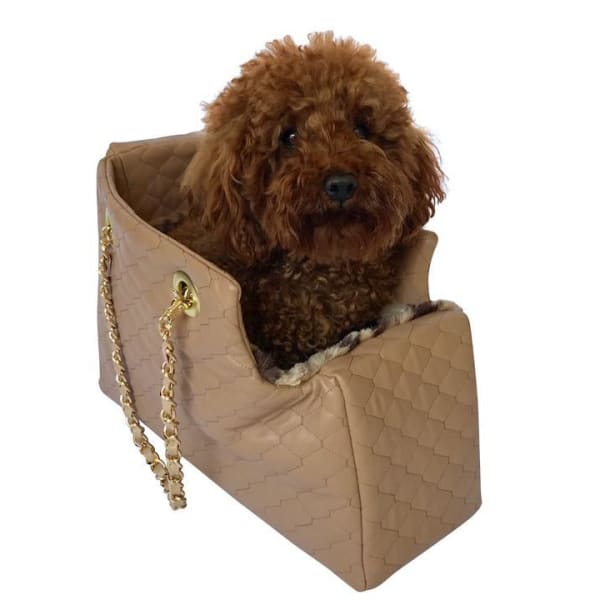 Kate Quilted Dog Carrier in Tan - Dog Purse Carriers - 1