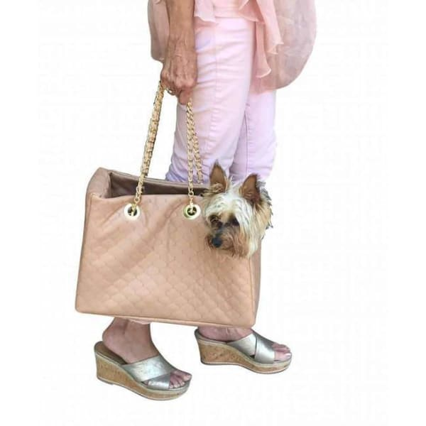 Kate Quilted Dog Carrier in Tan - Dog Purse Carriers - 2