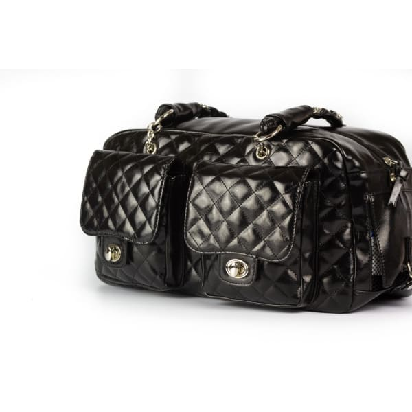 Kwigy-Bo Dog Carrier Black Patent Alex Luxe - Purse Dog Carriers - 4