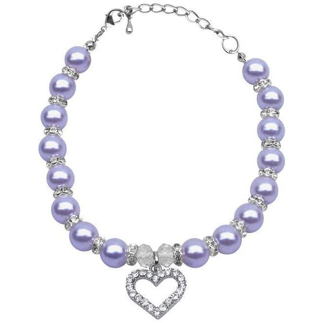 Lavender Pearl Dog Necklace - 1