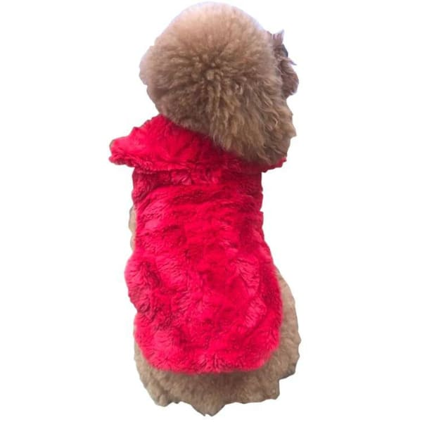 Luxury Bella Faux Fur Dog Coat Real Red - Dog Jackets & Coats - 1