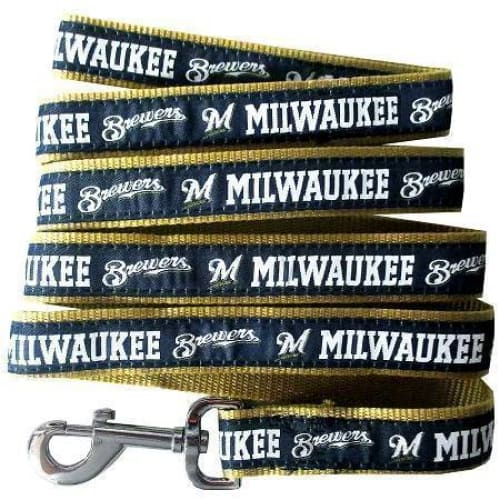 Milwaukee Brewers Dog Leash Ribbon - MLB Dog Leashes - 1