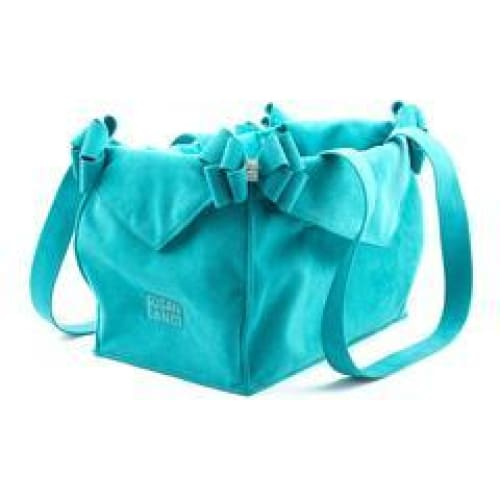 Montego Blue Double Nouveau Bow Susan Lanci Luxury Dog Carrier