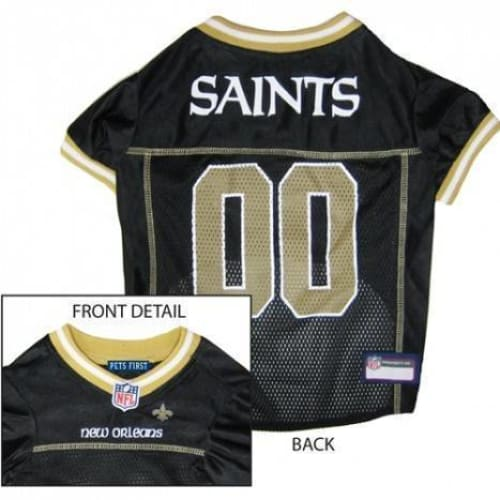 New Orleans Saints Dog Jersey with Gold Trim - 1