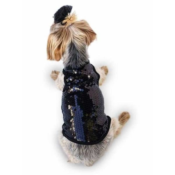 On The Rocks Sequined Black Tank for Dogs - Dressy Dog Tops - 1