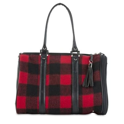 Petote JL Duffel - Red Buffalo Wool Plaid Dog Carrier - 1
