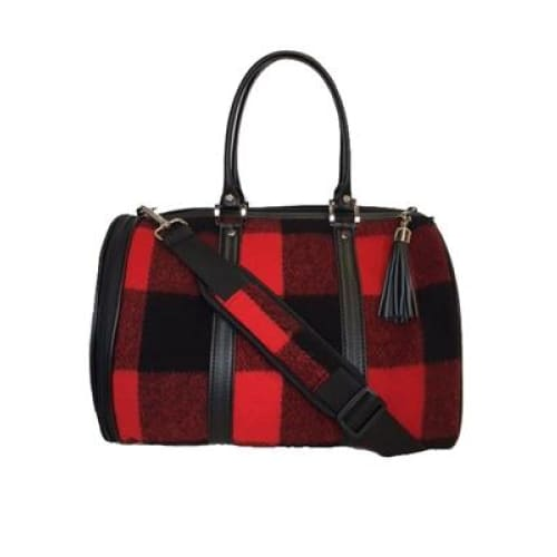Petote JL Duffel - Red Buffalo Wool Plaid Dog Carrier - 4