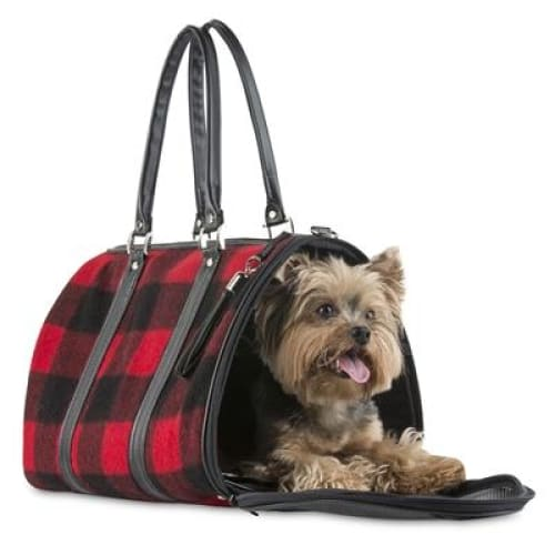 Petote JL Duffel - Red Buffalo Wool Plaid Dog Carrier - 2
