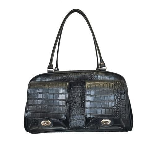 Petote Marlee Black Croc Dog Carrier - 1