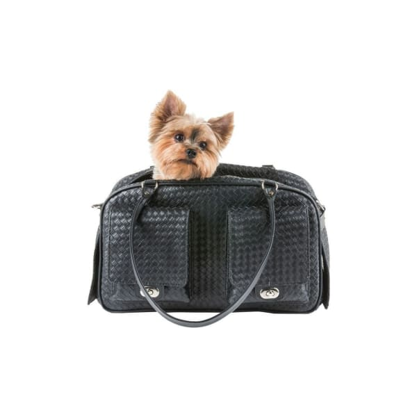 Petote Marlee Black Woven Dog Carrier - Purse Dog Carriers - 3