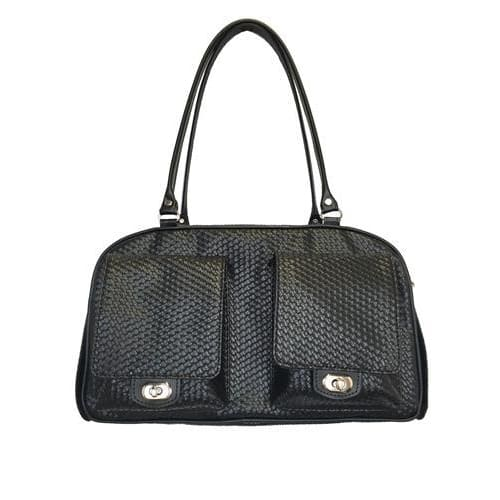 Petote Marlee Black Woven Dog Carrier - Purse Dog Carriers - 1