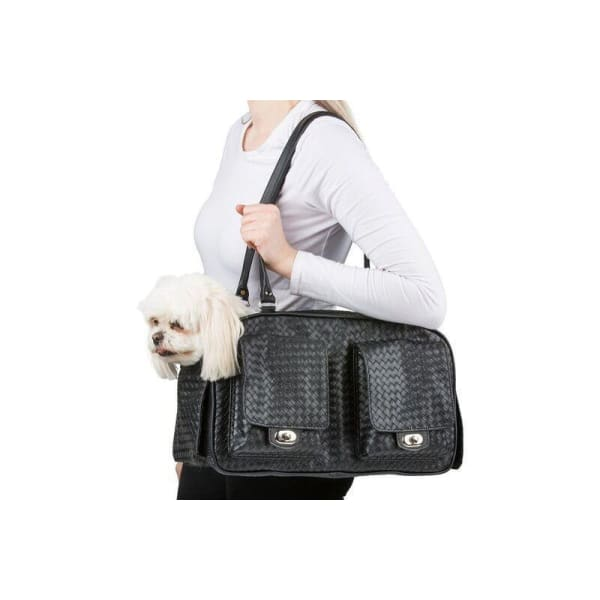Petote Marlee Black Woven Dog Carrier - Purse Dog Carriers - 5