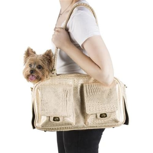 Petote Marlee Pet Carrier Gold Croc - Dog Purse Carriers - 3