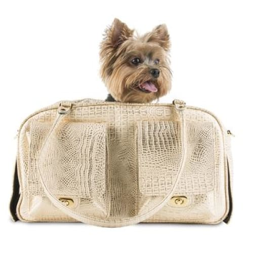 Petote Marlee Pet Carrier Gold Croc - Dog Purse Carriers - 1