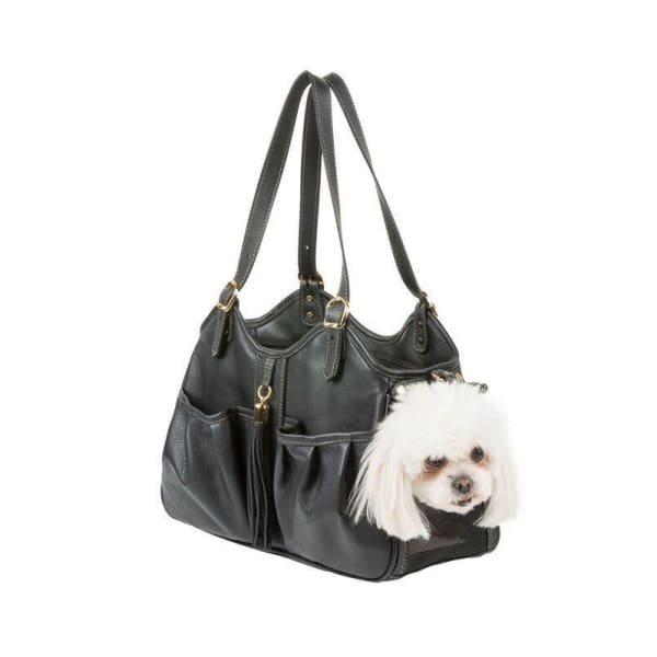 Petote Metro Couture Leather Pet Carrier Midnight w/ Tassel - Purse Dog Carriers - 5