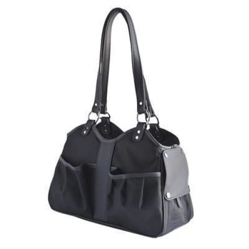 Petote Metro Couture Leather Pet Carrier Midnight w/ Tassel - Purse Dog Carriers - 4