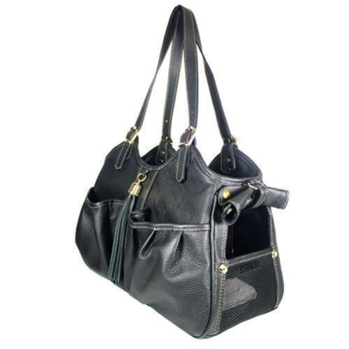 Petote Metro Couture Leather Pet Carrier Midnight w/ Tassel - Purse Dog Carriers - 2