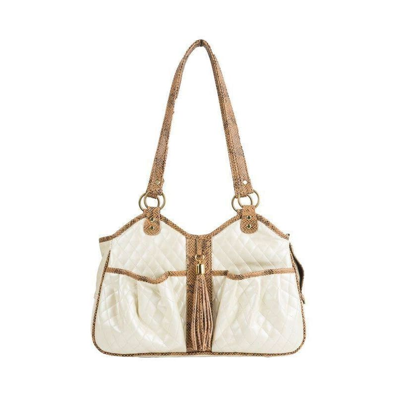 Petote Quilted Luxe Metro Puppy Carrier Ivory - 5
