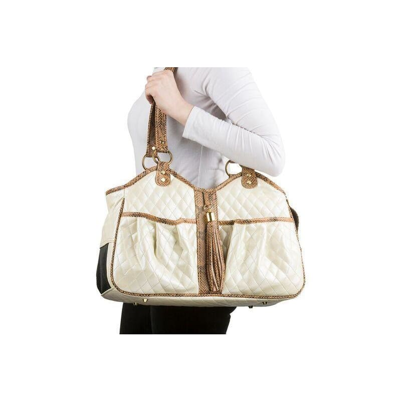 Petote Quilted Luxe Metro Puppy Carrier Ivory - 3