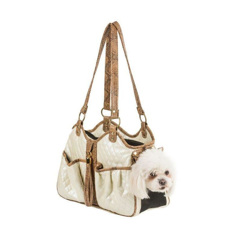 Petote Quilted Luxe Metro Puppy Carrier Ivory - 2
