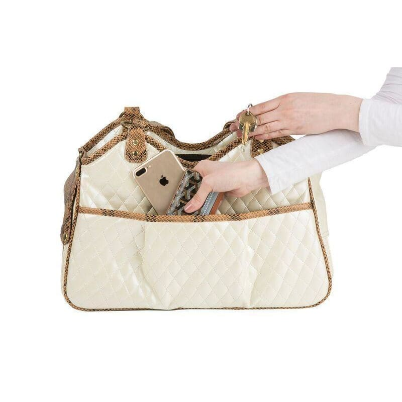 Petote Quilted Luxe Metro Puppy Carrier Ivory - 4