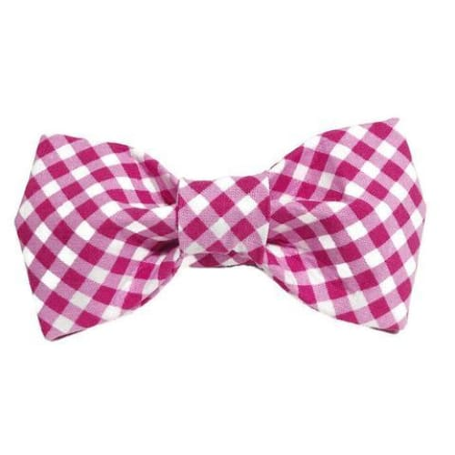 Pink Gingham Dog Bow Tie - 1